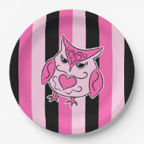 Black and pink girly owl on stripes paper plate