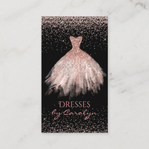 Black and Pink Glittery Seamstress Business Card