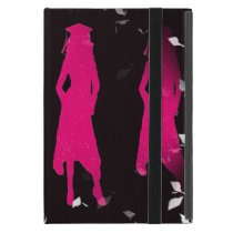 Black and Pink Grad Girl Silhouettes II Cover For iPad Mini