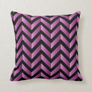 Black and Pink Gradient Chevron Throw Pillow
