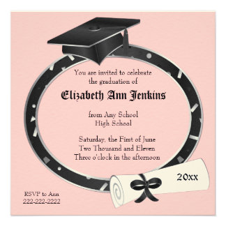 Black and Pink Graduation Party Invitation