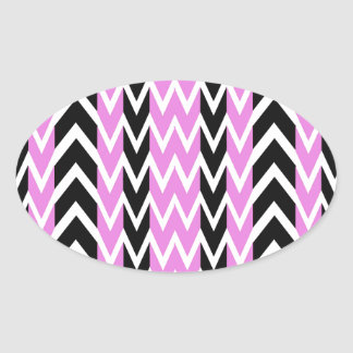 Black and Pink Heartbeats Oval Sticker