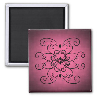Black and pink hearts and swirls 2 inch square magnet