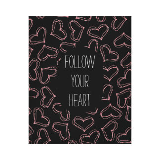 Black and Pink Hearts Canvas Print