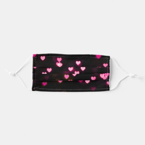 Black and Pink Hearts Pattern Cute Cloth Face Mask