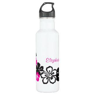 Black and Pink Hibiscus Hawaiian Flowers 24oz Water Bottle