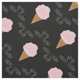 Black and Pink Ice Cream Cone Swirls Fabric