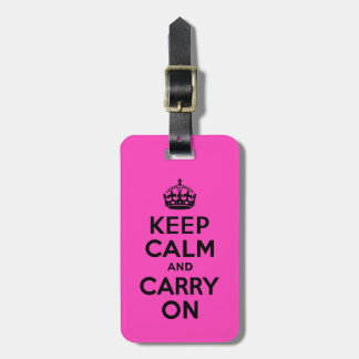 Black and Pink Keep Calm and Carry On Luggage Tag