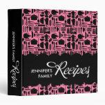 Black and Pink Kitchen Things Recipe Binder