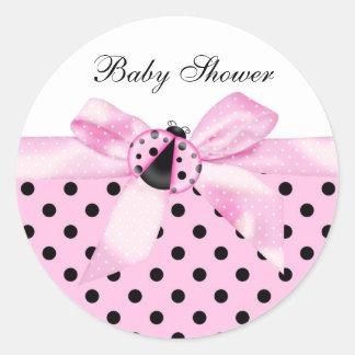Black and Pink Ladybug Stickers