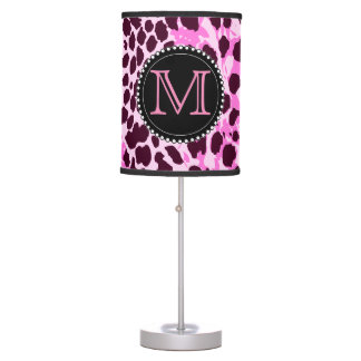 Black and Pink Leopard Print Custom Monogram girly Table Lamp