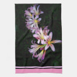 Black and Pink Lily Kitchen Towel Hand Towel