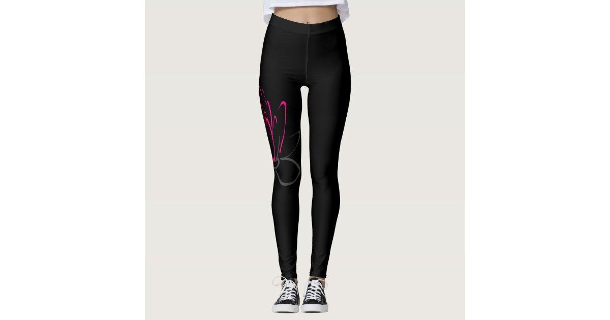 Black And Pink Lotus Leggings Zazzle Com