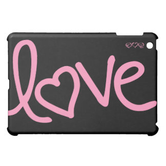Black and Pink love handwriting Case For The iPad Mini