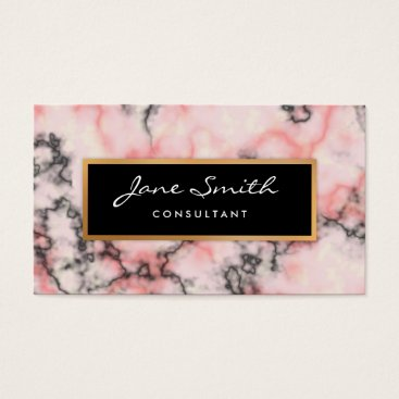 Professional Business Black and Pink Marble, Faux Gold Foil Business Card