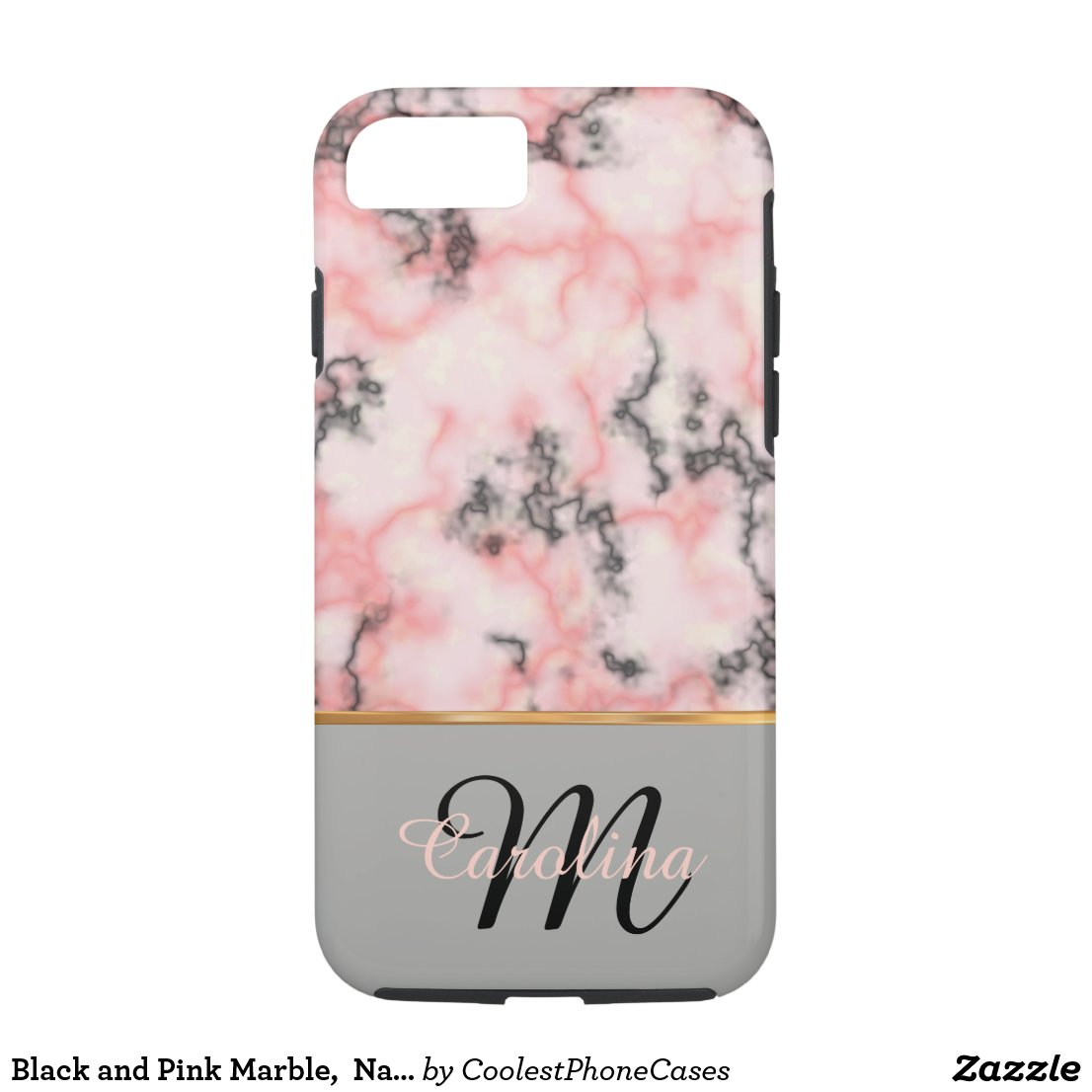 Black and Pink Marble, Name and Monogram iPhone 7 Case