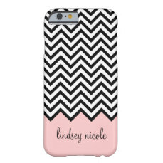 Black and Pink Modern Chevron Custom Monogram Barely There iPhone 6 Case