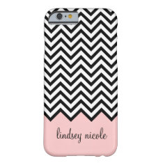 Black And Pink Modern Chevron Custom Monogram Barely There Iphone 6 Case at Zazzle