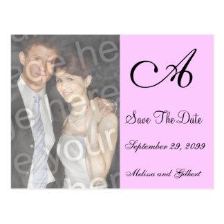 Black And Pink Monogram Save the Date Invitation Postcard