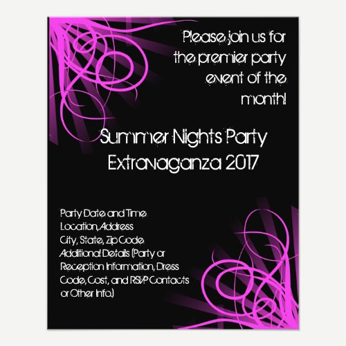 Black and Pink Music , DJ or Dance Event Flyer