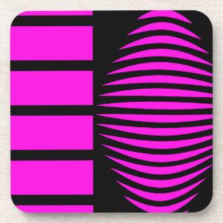 Black and pink mystical geometry beverage coaster