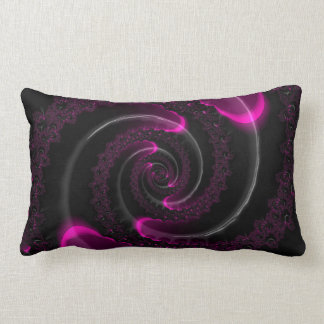 Black and Pink Neon Fractal Spiral Lumbar Pillow