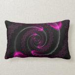 Black and Pink Neon Fractal Spiral Pillows