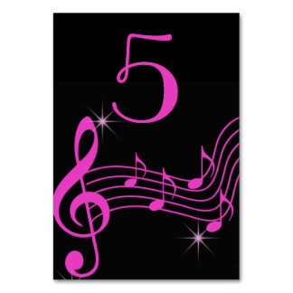 Black and Pink Neon look, Music Notes Card