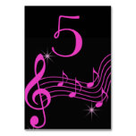Black and Pink Neon look, Music Notes Table Cards