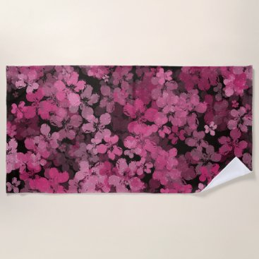 Beach Themed Black And Pink Night Flower Shower Beach Towel