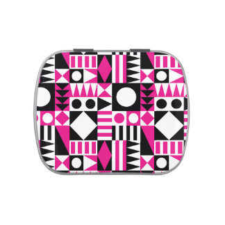 Black and Pink Ornamental Pattern Candy Tin