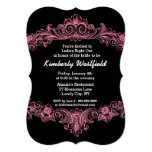 Black and Pink Ornate Baroque Ladies Night Out V06 Card