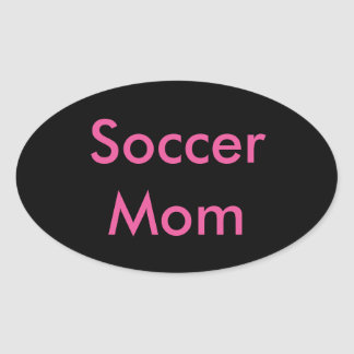 Black and Pink Oval Soccer Mom Stickers