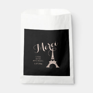Black and Pink Paris Wedding with Eiffel Tower Favor Bag