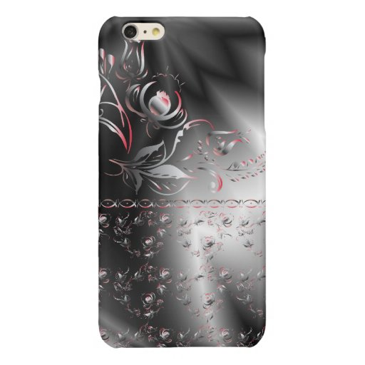 Black and pink pattern flowers glossy iPhone 6 plus case