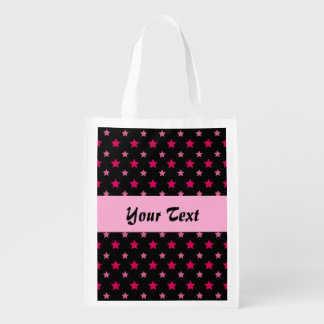 Black and pink pattern with stars reusable grocery bag