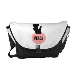 Black and Pink Peace Dove Messenger Bag