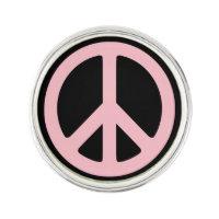 Black and Pink Peace Symbol Lapel Pin