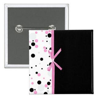 Black and Pink Polka Dot Design Pins