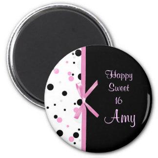 Black and Pink Polka Dot Design Magnet
