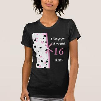 Black and Pink Polka Dot Design T-shirt
