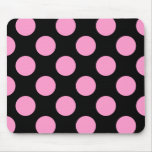 Black And Pink Polka Dot Mousepad at Zazzle