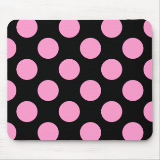 Black and Pink Polka Dot Mousepad