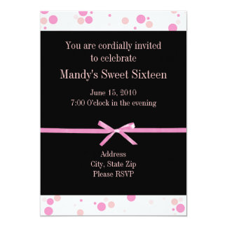 Black and Pink Polka Dot Sweet Sixteen Invitations
