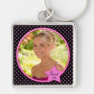Black and Pink Polka Dot Sweet Sixteen Keychain