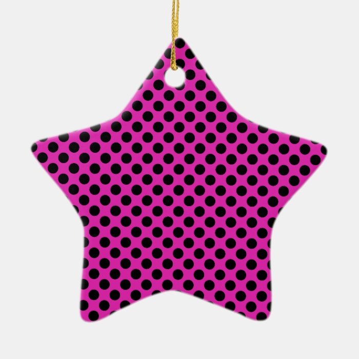 Black and Pink Polka Dots Ceramic Ornament