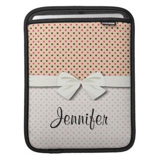 black and pink polka dots on dark cream sleeve for iPads