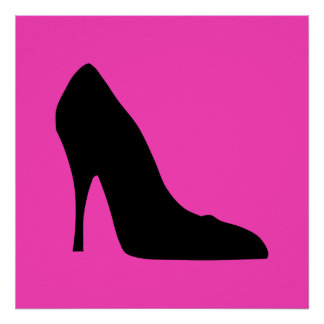 Black and Pink Pumps Poster