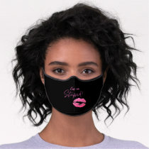 Black and Pink quote with kiss - Kiss me, stupid! Premium Face Mask