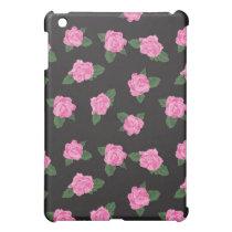 Black and pink rose iPad case skin